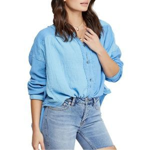 Free People Moving Mountains Button Top Blue
